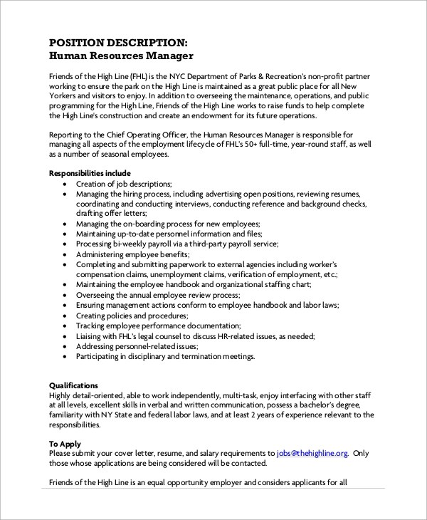 Manager Job Description Sample General Manager Job Description