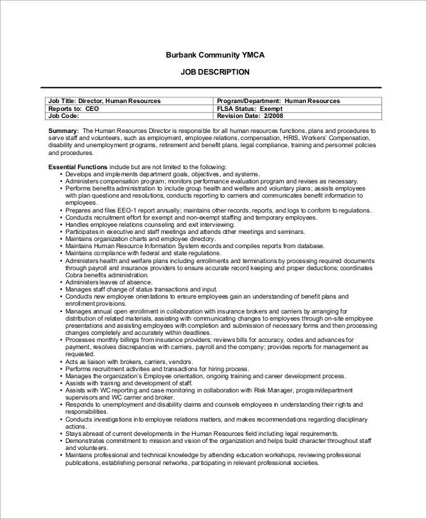 7+ Human Resources Job Description Samples Sample Templates
