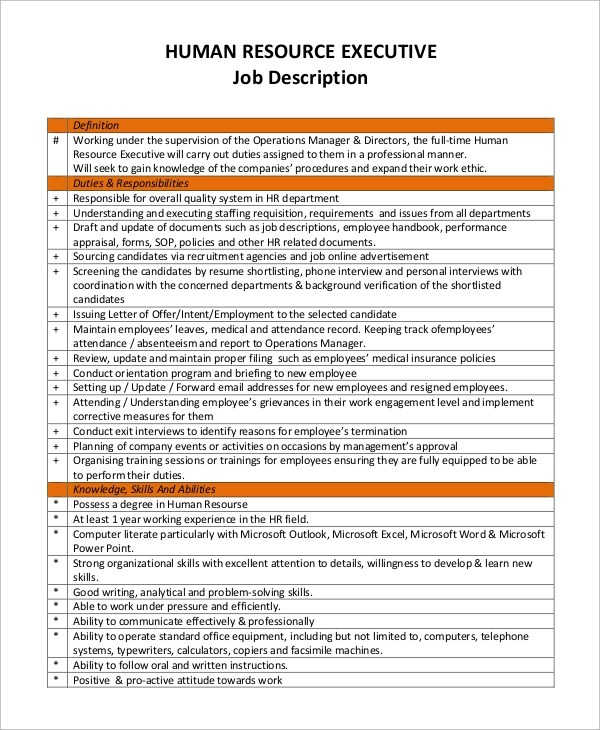 Job Description Sample Executive Assistant | Reference Letter