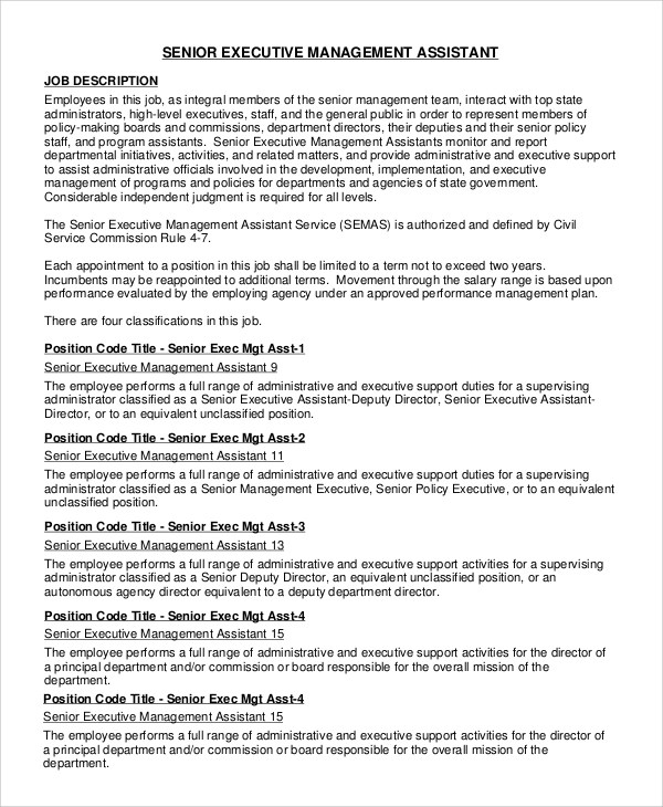 8+ Executive Assistant Job Description Samples Sample Templates