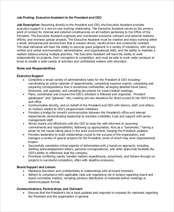 8+ Executive Assistant Job Description Samples Sample Templates