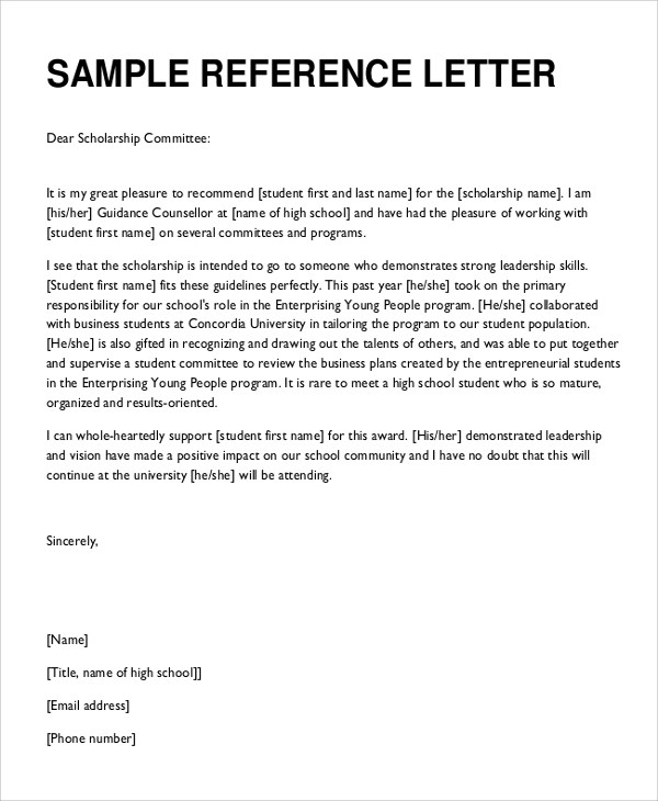 Sample Reference Letter - 8+ Examples in Word, PDF - letters of recommendation for scholarship