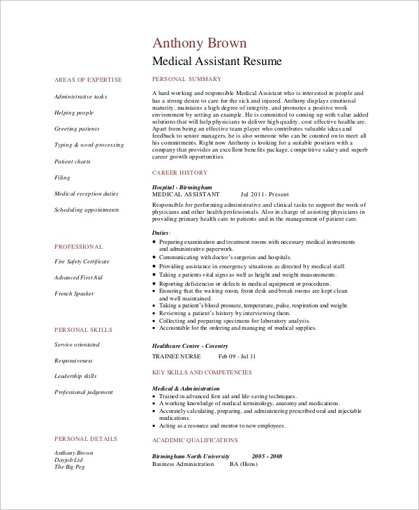 Sample Medical Assistant Resume - 7+ Examples in PDF - skills for medical resume