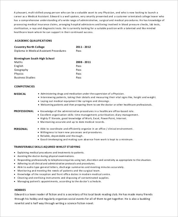 7+ Sample Medical Assistant Resumes Sample Templates - good medical assistant resume
