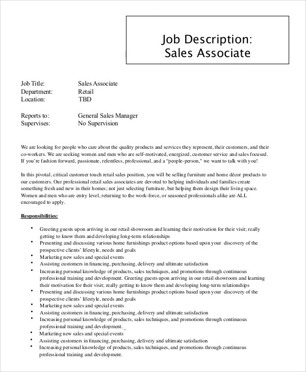 9+ Sales Associate Job Description Samples Sample Templates - sales job description