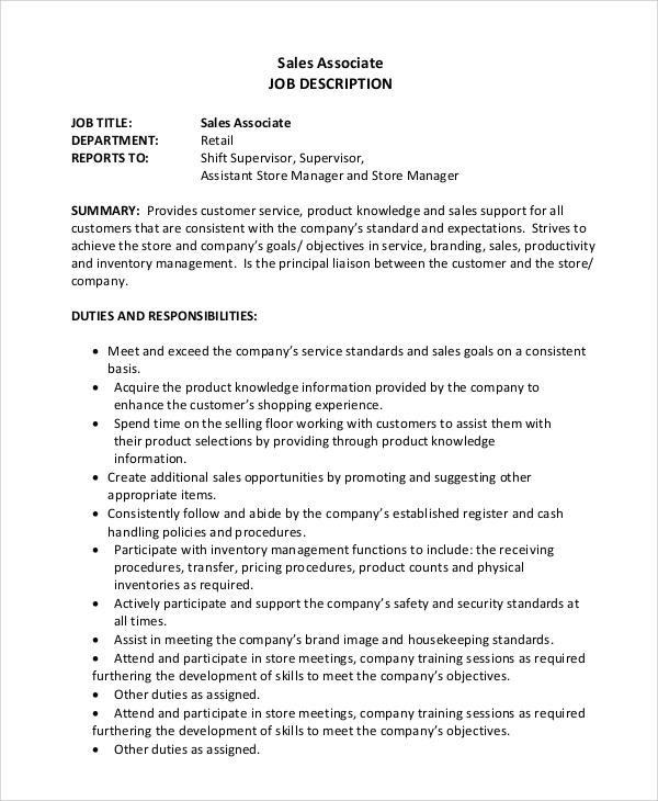 Sales Associate Job Description Awesome Retail Sales Associate Job - sales associate job dutie
