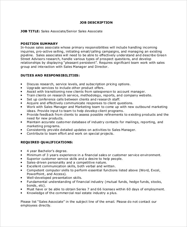 sales associate job duties - Maggilocustdesign - sales job description