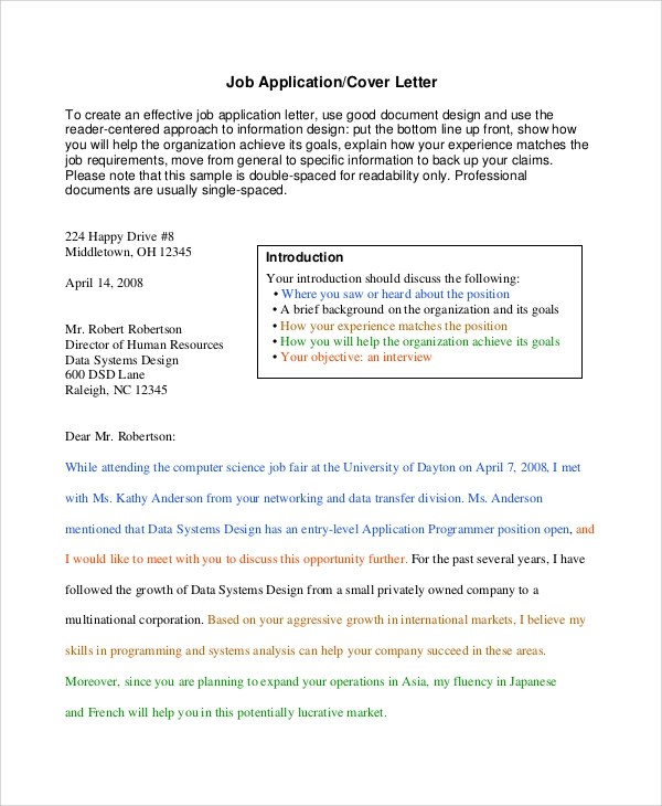 application letter job fair Cover letter template introduction  explain the relevant skills you have developed for the job,  application timeline application process.