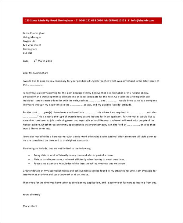 8+ Sample Cover Letter For Job Sample Templates