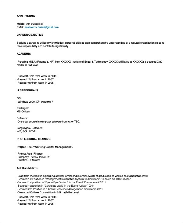 Sample Resume Format - 8+ Examples in Word, PDF - sample resume format for freshers