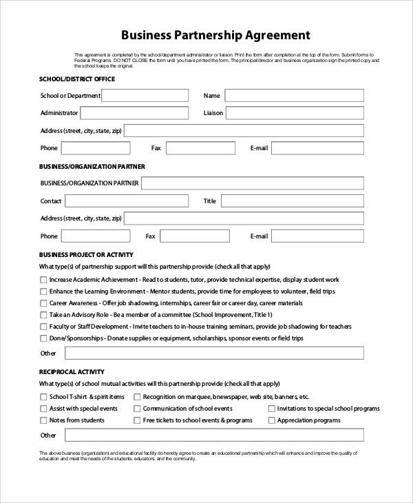 9+ Sample Partnership Agreements Sample Templates - business partnership contract sample