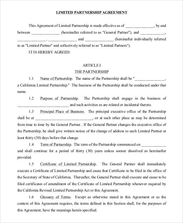 9+ Sample Partnership Agreements Sample Templates - sample partnership agreements