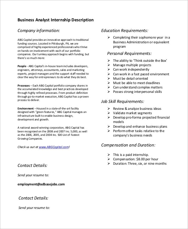 business intern description - 28 images - business intern