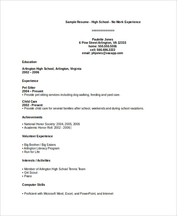 High School Cv School Resume Format Sample High School Resume - resume examples for students with no work experience