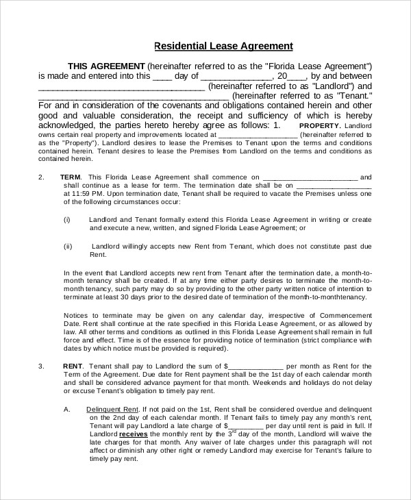 Free Lease Agreement Template for Word - lease agreements sample