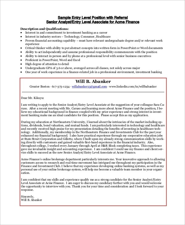 Sample Cover Letter - 9+ Examples in PDF - cover letter sample entry level