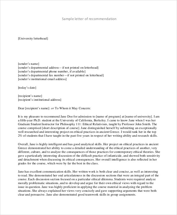 8+ Recommendation Letter Format Samples Sample Templates