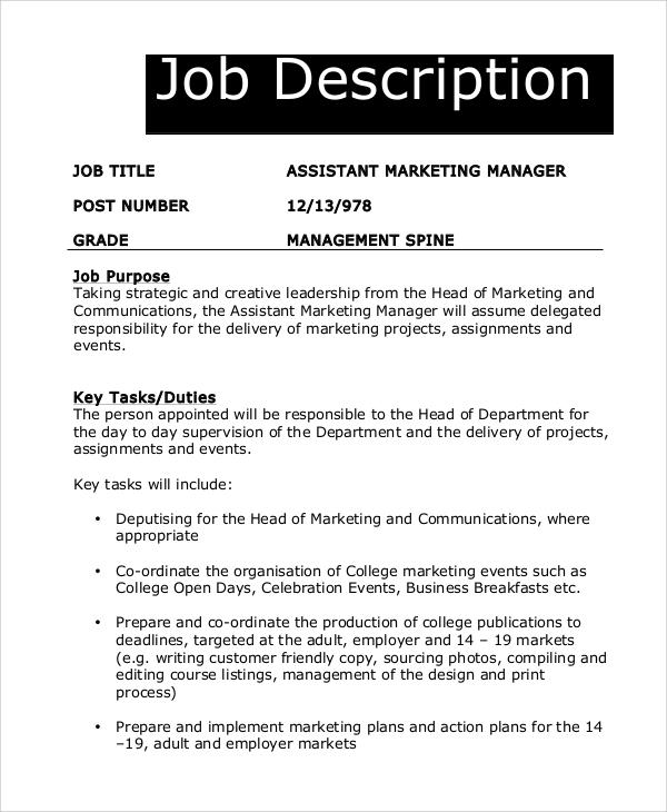 8+ Marketing Manager Job Description Samples Sample Templates