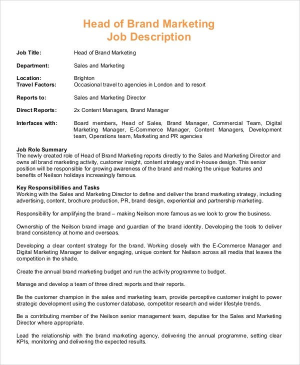 Job Description Sales Manager Uk | Job Description For Bartender