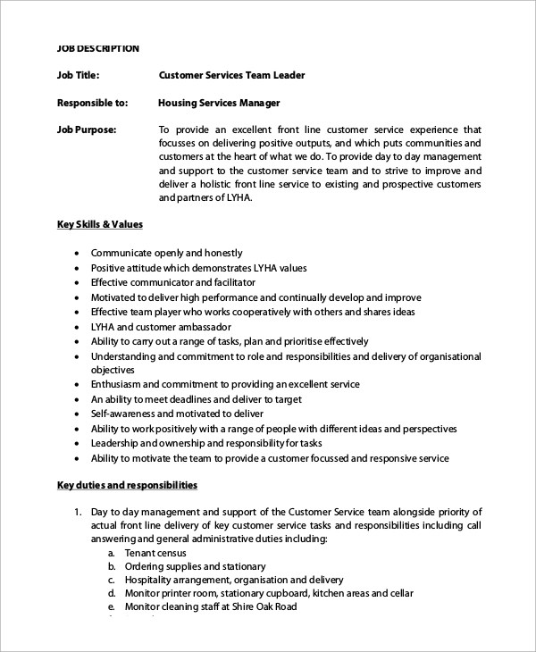 Sample Customer Service Job Description - 8+ Examples in PDF - customer service manager job description