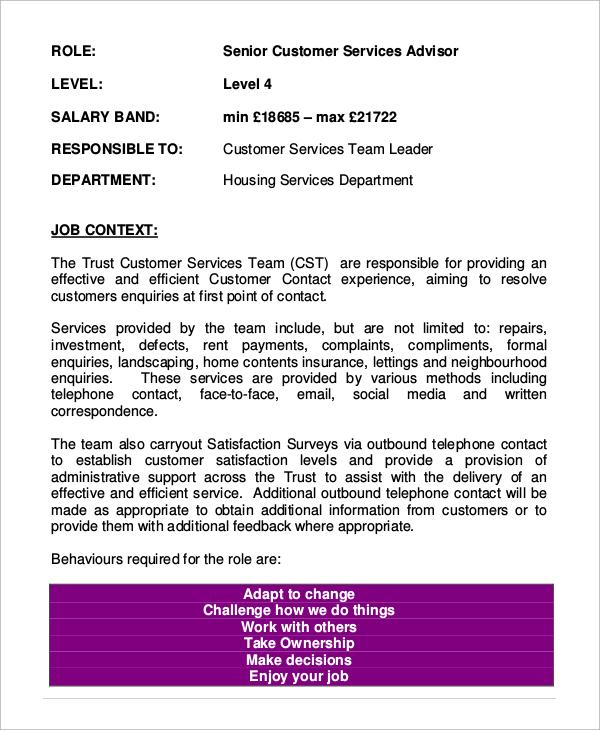 description for resume for customer service