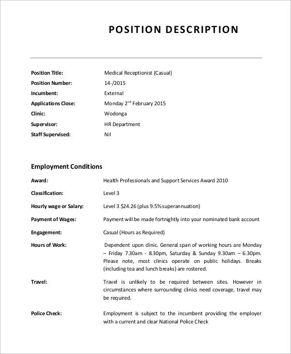 Job Description For Front Desk Receptionist | Character Reference