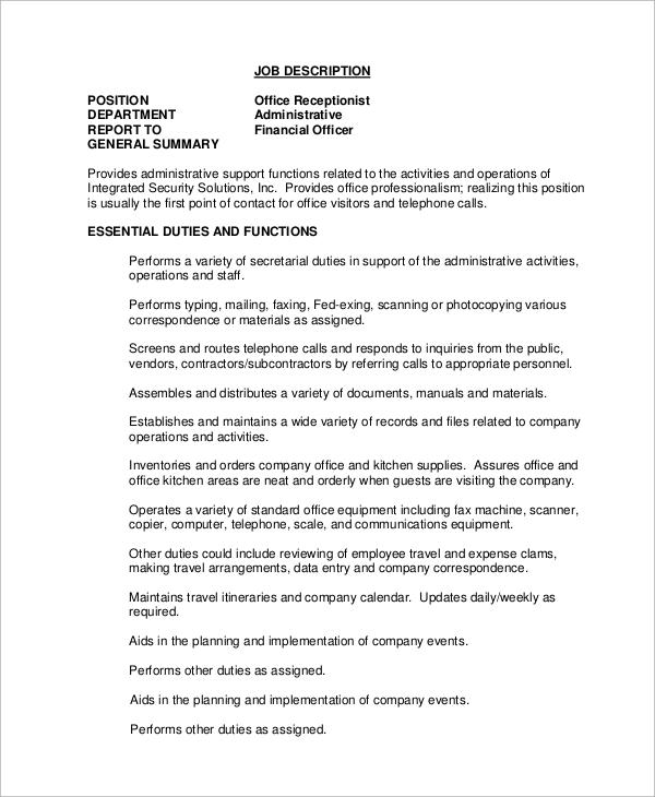 Sample Receptionist Job Description - 11+ Examples in Word, PDF