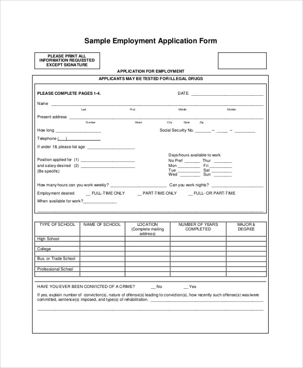 9+ Application For Employment Samples Sample Templates - application for employment