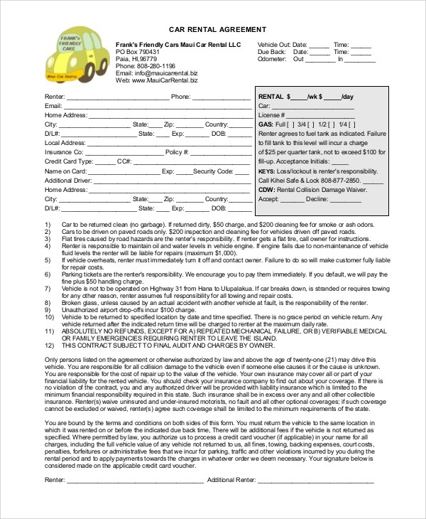 car rental agreement template