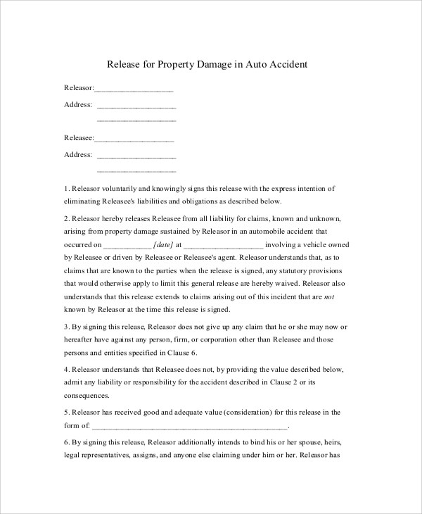 9+ Sample Release of Liability Forms Sample Templates