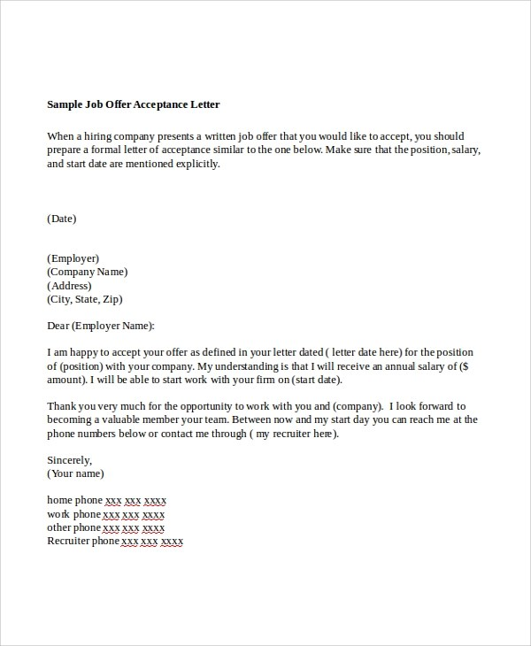 7+ Sample Offer Letters Sample Templates