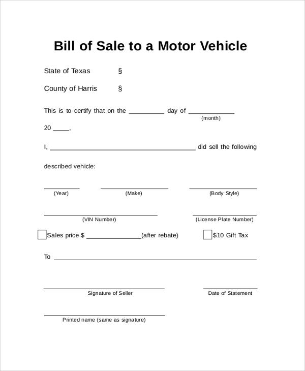 auto bill of sale document