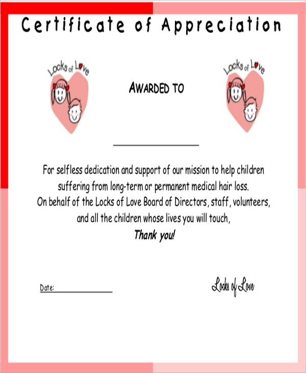 Sample Certificate of Appreciation - 9+ Examples in Word, PDF - sample certificate of appreciation