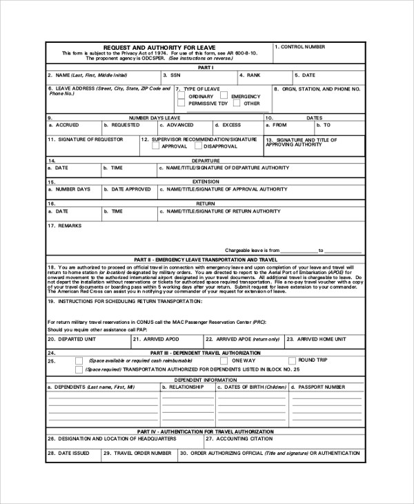 7+ Sample Army Forms Sample Templates