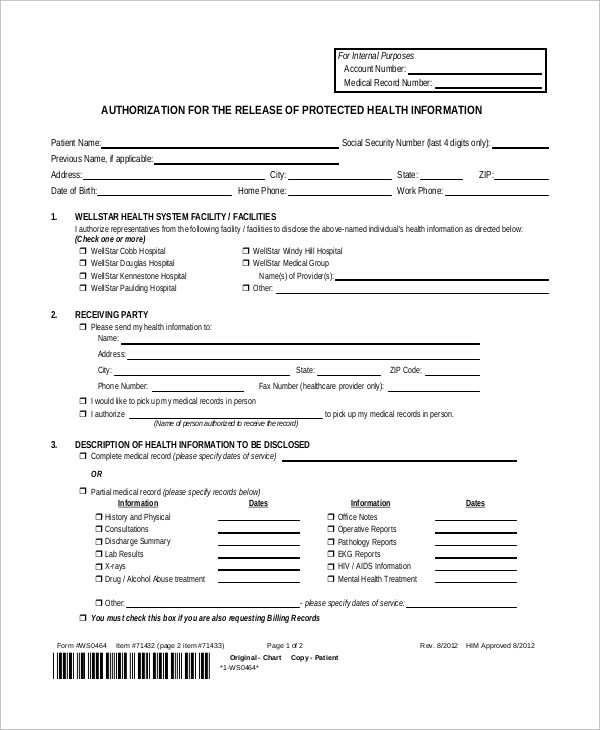 Captivating Authorization To Release Medical Records Form Sample. Medical Authorization  Release Form ...