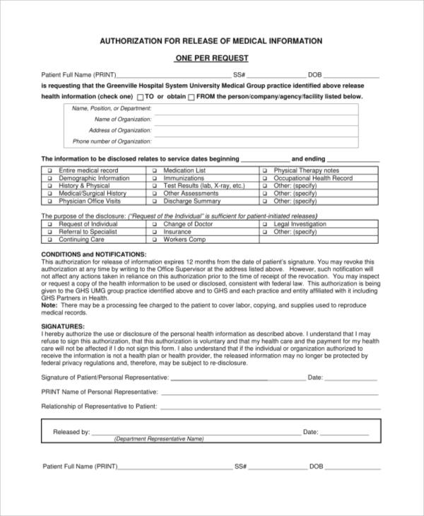 Sample Medical Release Form - 9+ Examples in PDF - medical information release form