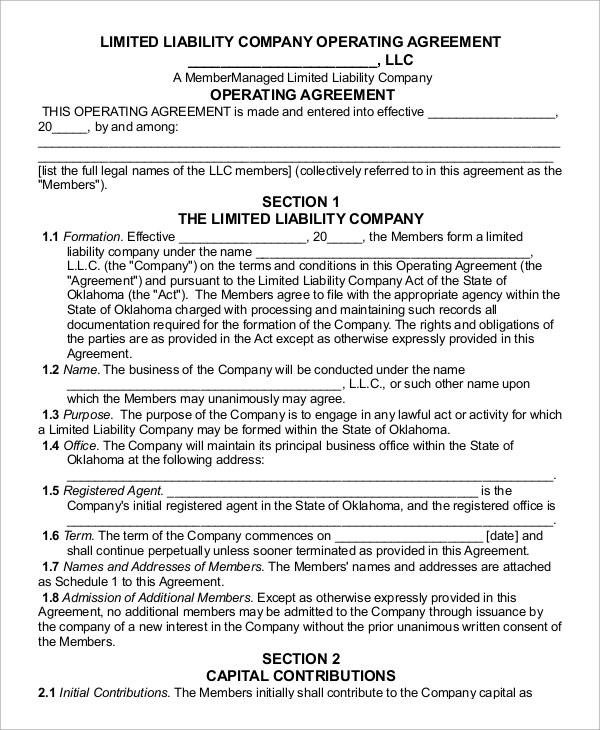 9+ Sample Operating Agreements Sample Templates