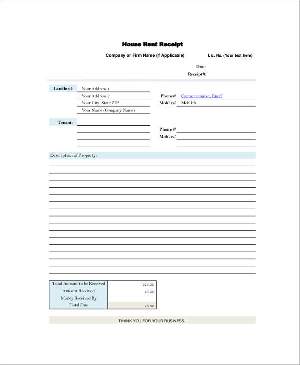 9+ Sample Rent Receipts Sample Templates