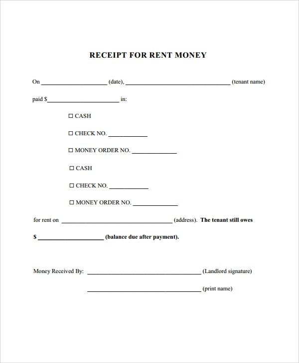 Sample Rent Receipt - 9+ Examples in PDF, Word - house rent receipt format
