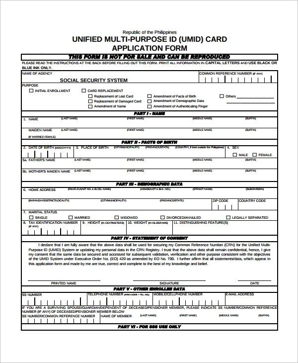 7+ Sample Social Security Forms Sample Templates