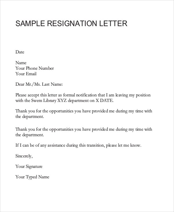 Resignation Letter Example - 8+ Samples in Word, PDF - examples of resignation letters