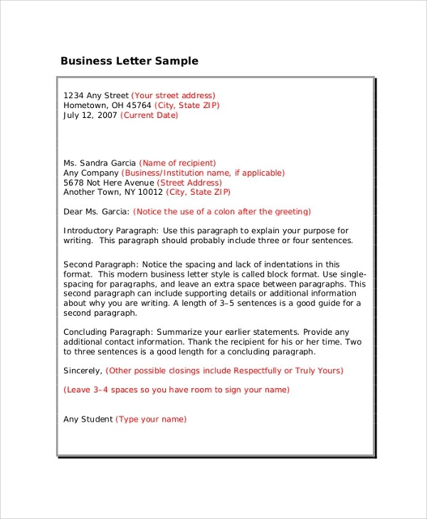 8+ Professional Letter Format Samples Sample Templates