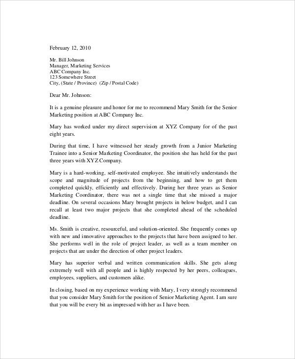 Sample Reference Letter - 8+ Examples in PDF, Word - employment reference letter sample