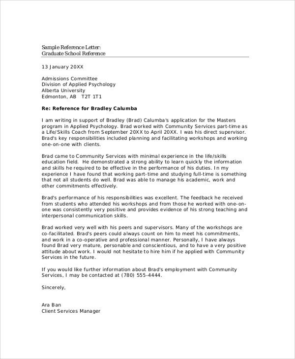 Example of Reference Letter - 11+ Samples in Word, PDF - sample school recommendation letter