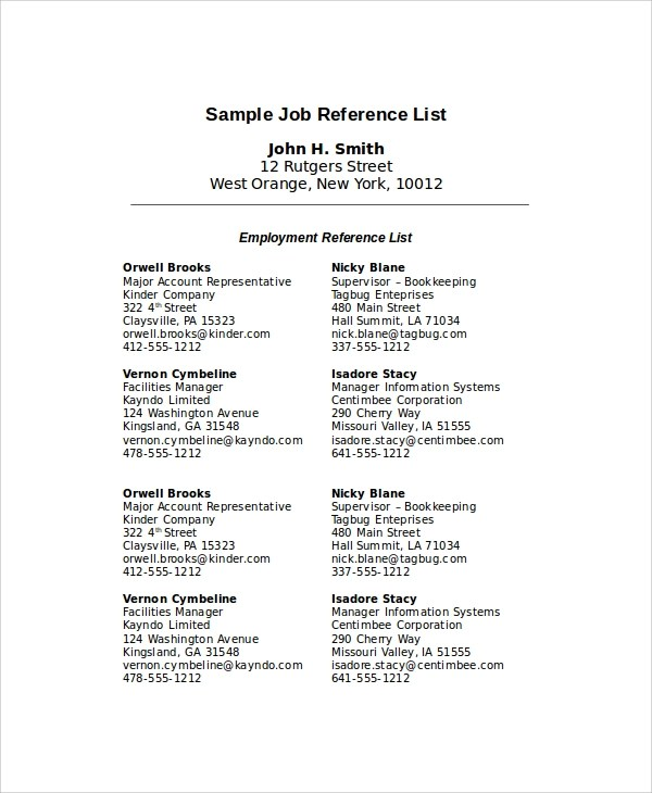 Sample Reference List - 9+ Examples in PDF, Word - resume reference list template
