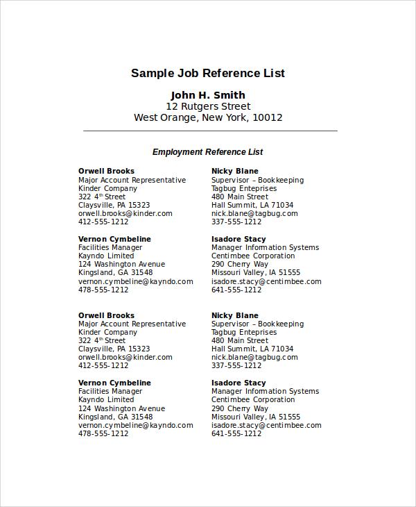 sample reference list for job
