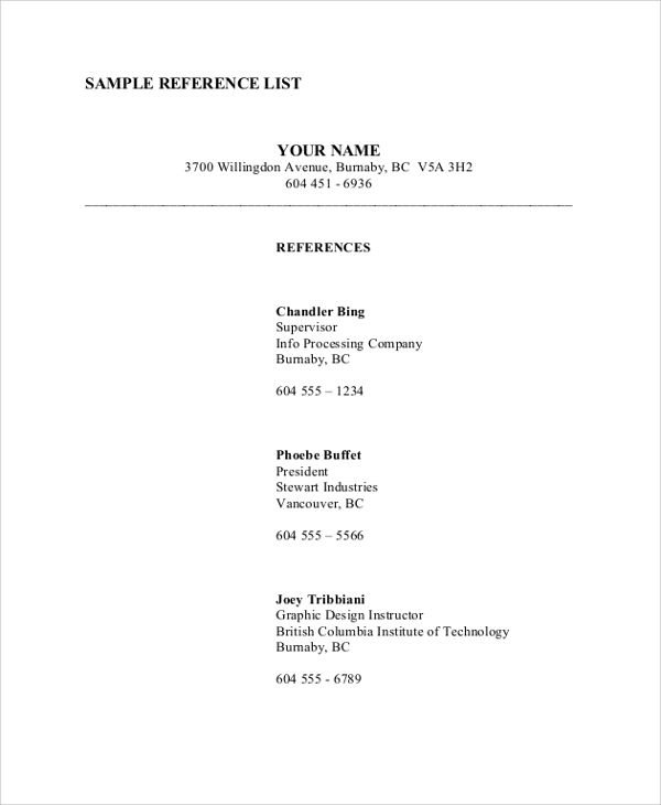 reference list on resumes