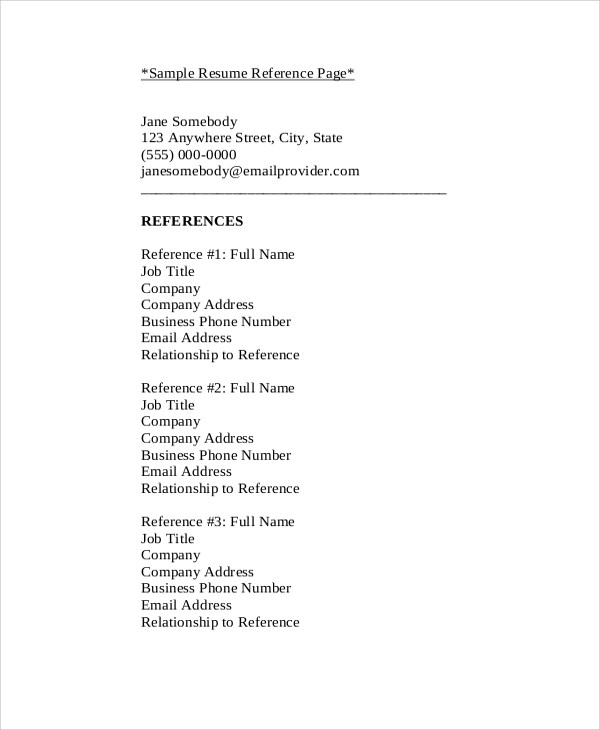 sample of reference list