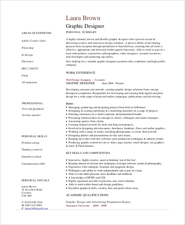 7+ Graphic Design Resume Samples Sample Templates - Graphic Design Resume Example