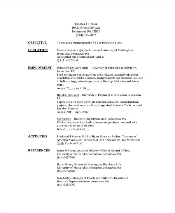 8+ Sample College Student Resumes Sample Templates